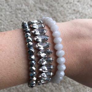 LOFT silver and white beaded bracelet set